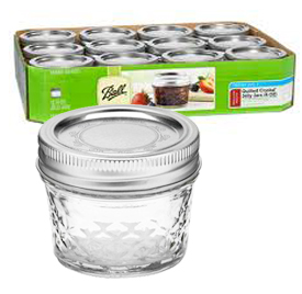 Jars - 4 oz. Quilted Crystal Jelly Jars - Case of 12